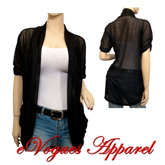 Plus Size Open Front Sheer Long Line Cardigan Black | eVogues Apparel