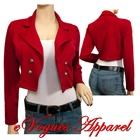 Plus Size Cropped Button Blazer Red