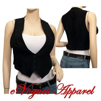 jr. plus size button closure cropped vest black | evogues apparel