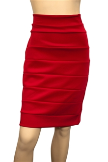 Jr Plus Size Bandage Pull On Pencil Skirt Red