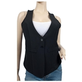 Jr Plus Size Black Button Front Sleeveless Vest Top