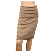 Jr Plus Size Bandage Pull On Pencil Skirt Beige