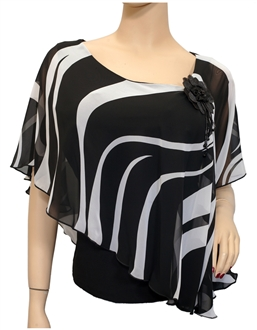 Plus size Sheer Layered Poncho Top Black