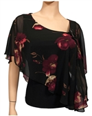 Plus size Sheer Layered Poncho Top Floral Print Black