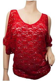 Plus Size Drop Shoulder Sequin Accent Floral Lace Top Red
