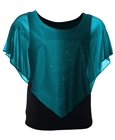 Plus Size Glitter Layered Look Poncho Top Teal