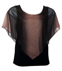 Plus Size Glitter Layered Look Poncho Top Brown