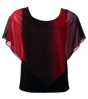 Plus Size Glitter Layered Look Poncho Top Red