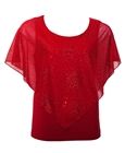 Plus Size Layered Poncho Top with Glitter Detail Red