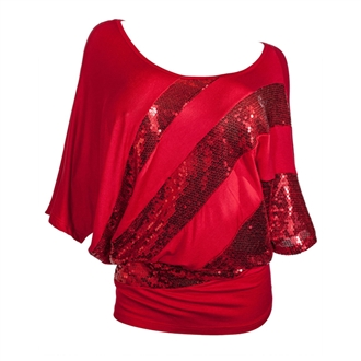 Plus size Sequins Scoopneck Top Red