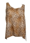 Plus Size Open Back Sheer High Low Top Animal Print