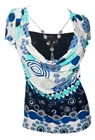Plus size Layered Short Sleeve Top With Necklace Teal Abstract Print