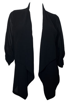 Plus Size Sheer Chiffon Open Front Cardigan Black