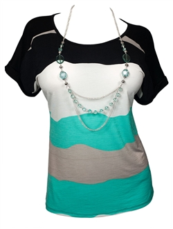 Plus Size Color Block Print Top with Necklace Detail Green