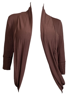 Plus Size Shawl Collar Open Front Cardigan with Button Detail Brown