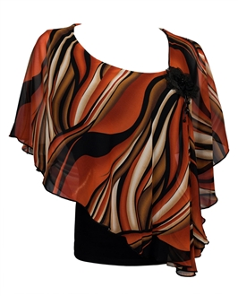 Plus size Sheer Layered Poncho Top Abstract Print Orange