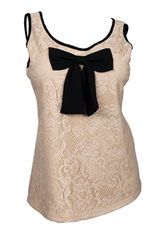 Plus size Floral Lace Sleeveless Blouse With Bow Detail Taupe