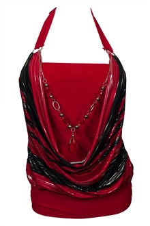 Plus size Glitter Necklace Accented O-ring Strap Top Red Black