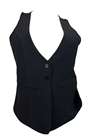 Plus Size Button Up Sleeveless Stretch Vest Black