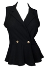Plus size Spread Collar Sleeveless Vest Top Black