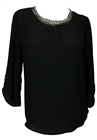 Plus size Rhinestone Detail Roll Tab Sleeve Blouse Black