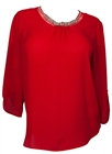 Plus size Rhinestone Detail Roll Tab Sleeve Blouse Red