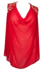 Plus size Leaf Shoulder Sheer Sleeveless Top Red
