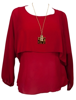 Plus Size Layered Long Sleeve Chiffon Top with Necklace Detail Red