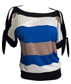Plus size Off Shoulder Color Block Top Royal Blue
