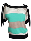 Plus size Off Shoulder Color Block Top Mint