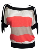 Plus size Off Shoulder Color Block Top Coral