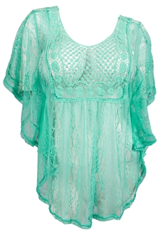 Plus Size Crochet Poncho Top Mint