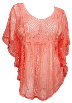 Plus Size Crochet Poncho Top Coral