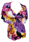 Plus Size Slimming V-neck Smocked Empire Waist Top Purple Floral Print