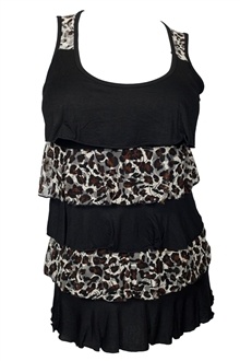 Plus Size Tiered Ruffle Tank Top Brown Animal Print