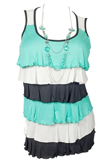 Plus Size Tiered Ruffle Tank Top with Necklace Detail Teal