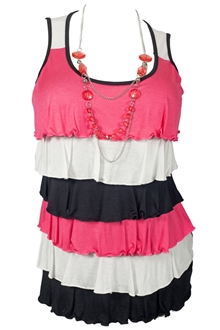 Plus Size Tiered Ruffle Tank Top with Necklace Detail Pink