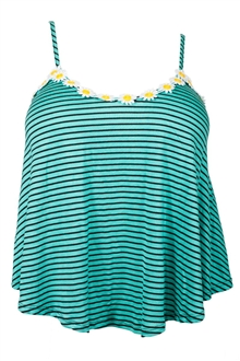Plus Size Striped Sunflower Cropped Cami Top Teal