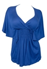 Plus Size Slimming V-neck Smocked Empire Waist Top Blue