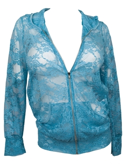 Plus Size Lace Zipper Front Hoodie Top Teal