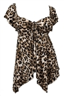 Plus size Deep V-neck Asymmetric Slimming Top Animal Print