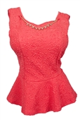Plus size Sleeveless Peplum Top with Necklace Detail Coral
