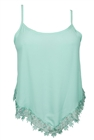 Plus size Asymmetric Lace Trimmed Spaghetti Strap Tank Top Mint