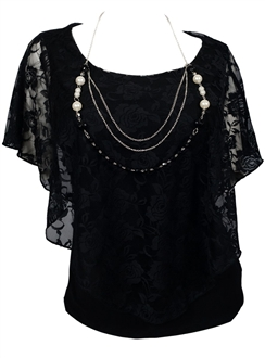Plus Size Layered Lace Poncho Top with Necklace Detail Black