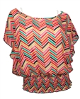 Plus Size Colorful ZigZag Print Layered Poncho Top