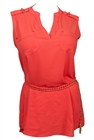 Plus Size Sleeveless Tunic Top with Tassel Detail Coral