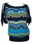 Plus size Off Shoulder Tribal Print Top Teal