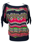 Plus size Off Shoulder Tribal Print Top Pink