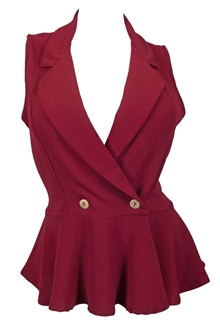Plus size Spread Collar Sleeveless Vest Top Burgundy