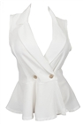 Plus size Spread Collar Sleeveless Vest Top Off White